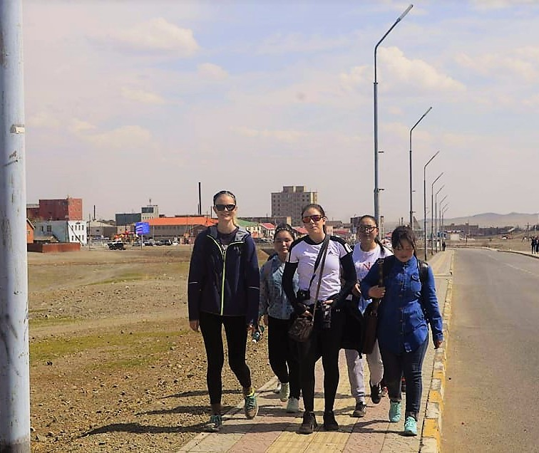 Here we are marching out of our aimag.